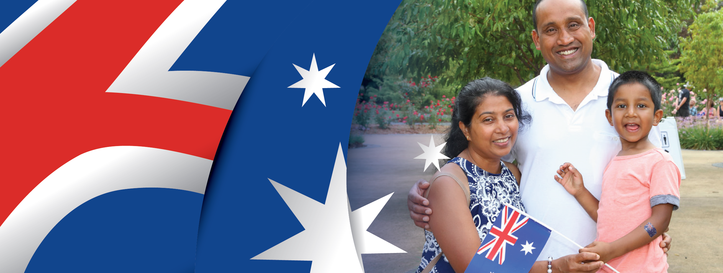 Australia Day banner with family