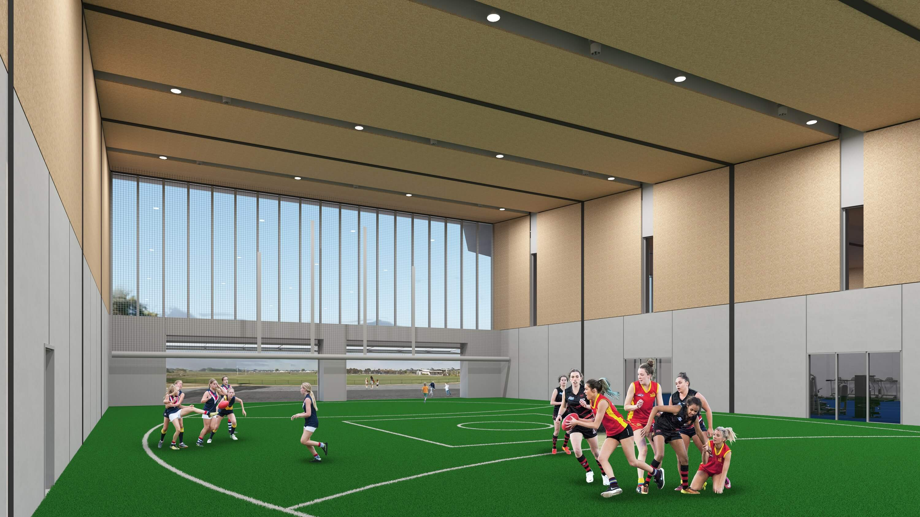 Artist impression of the indoor training space. Please note, this is subject to chance during the detailed design phase.