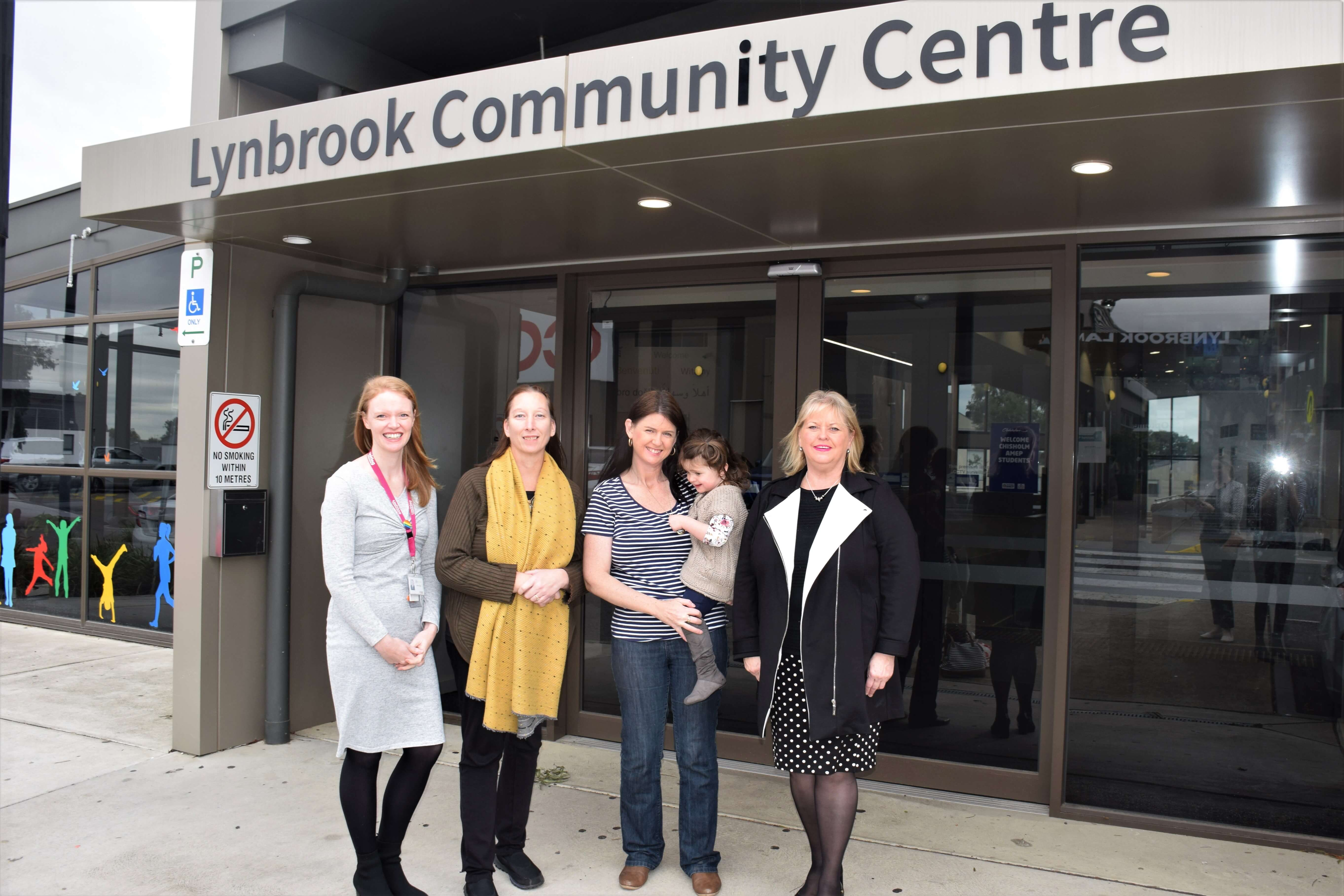 City of Casey Mayor Cr Amanda Stapledon, Felicity Preston from Uniting and local carers Vanassa Gerdes and Vanessa Watson are looking forward to the launch of the Lynbrook Carers Hub.
