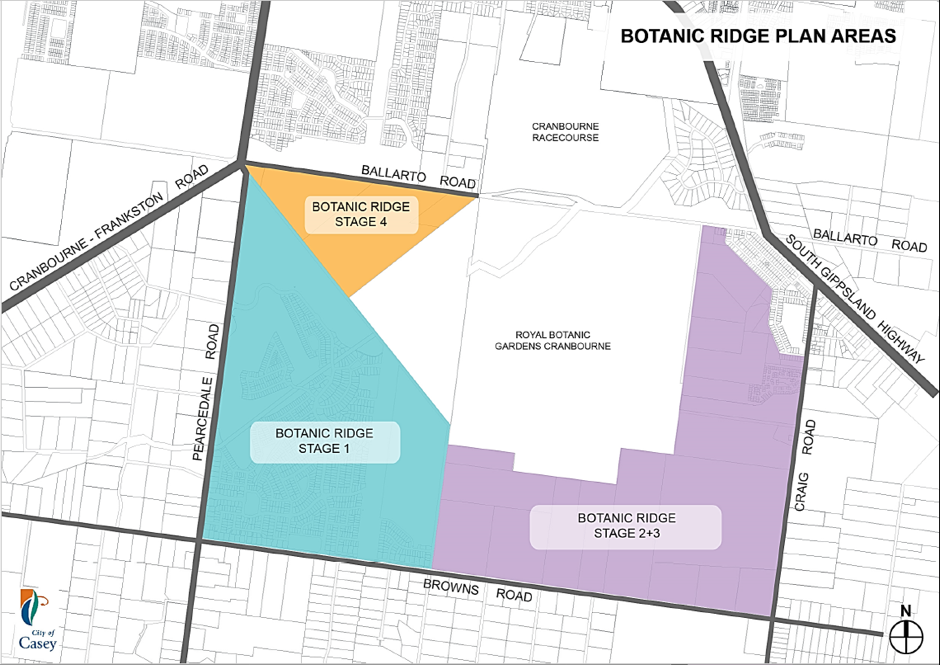 Map of Botanic Ridge Stages. Stage 1 is the corner of Pearcedale Rd and Browns Rd.
