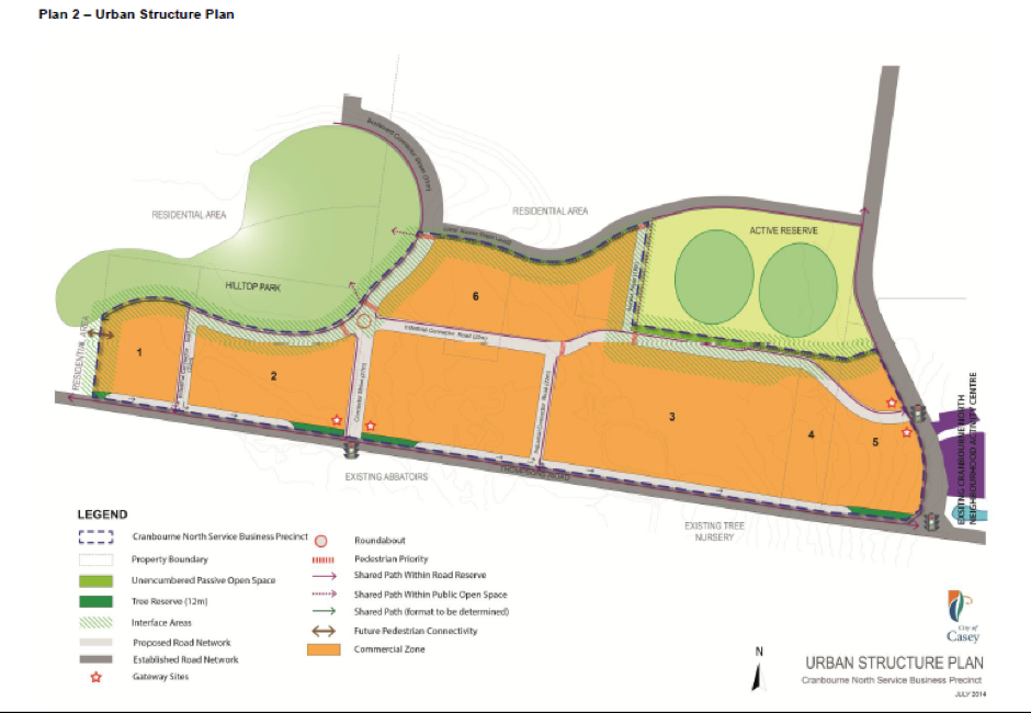 Map showing the future development of Cranbourne North Business Precinct.