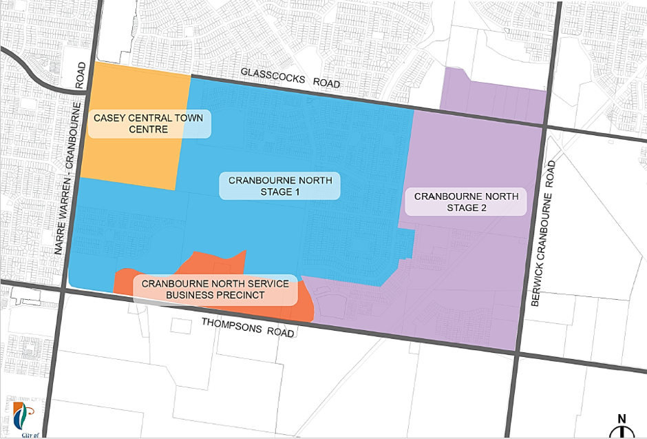 map of Cranbourne North development stages. The business precinct is on Thompsons Rd.