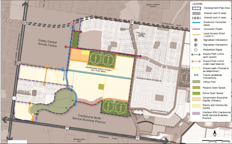 Future Urban Structure plan for Cranbourne North Stage 1 Development Plan area