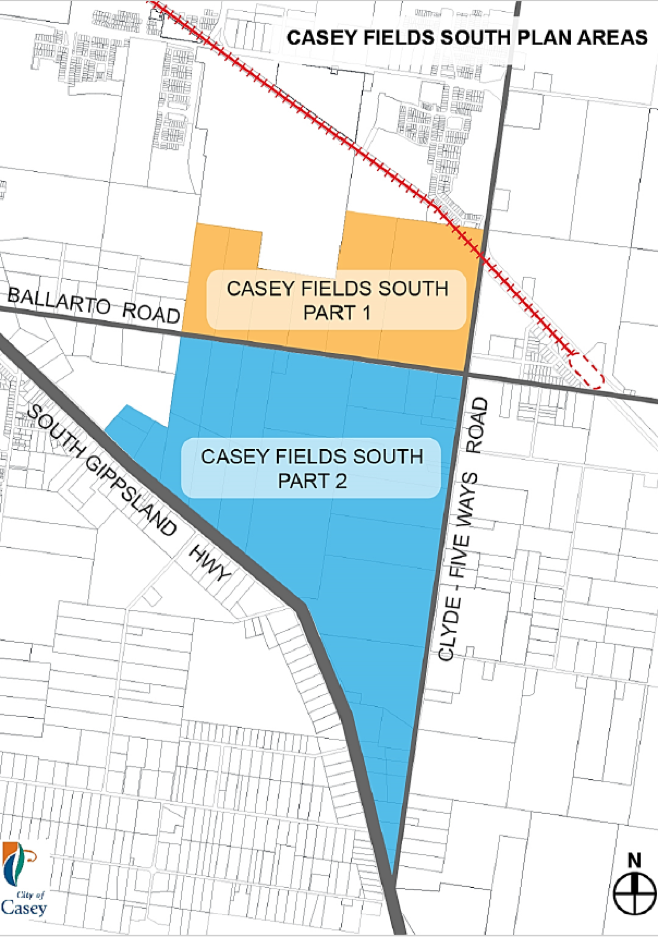 map of Casey Fields South plan areas showing part 1 and 2