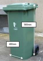 Waste bin with dimensions