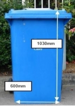 Recycling bin with dimensions