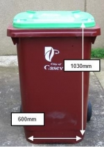 Garden waste bin with dimensions