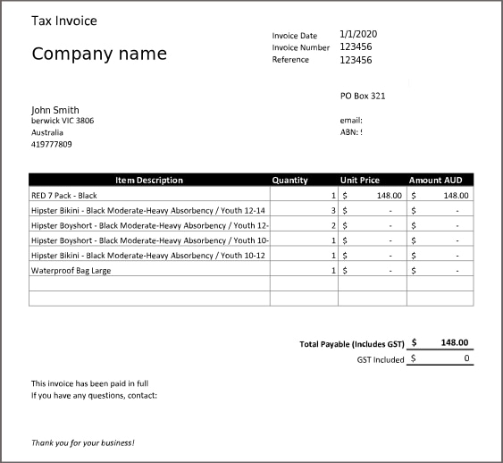 Receipt of purchase example