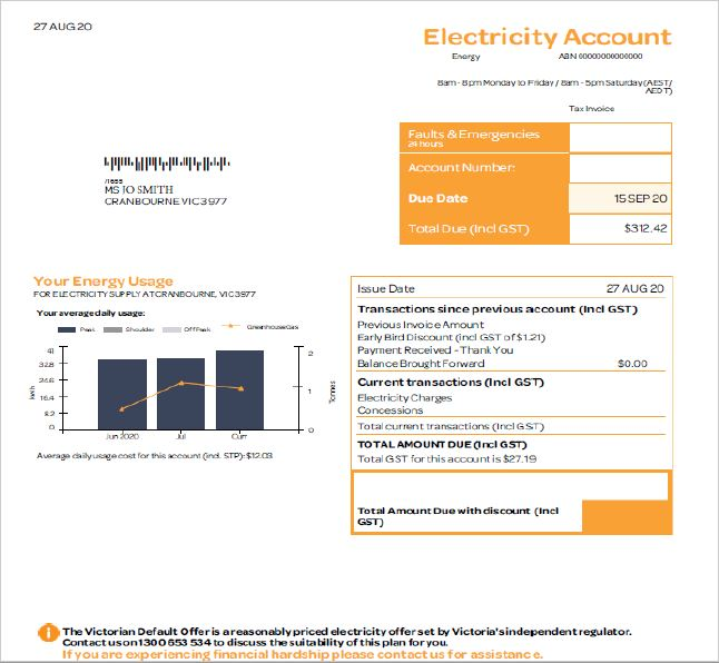 Cloth nappy electricity invoice example